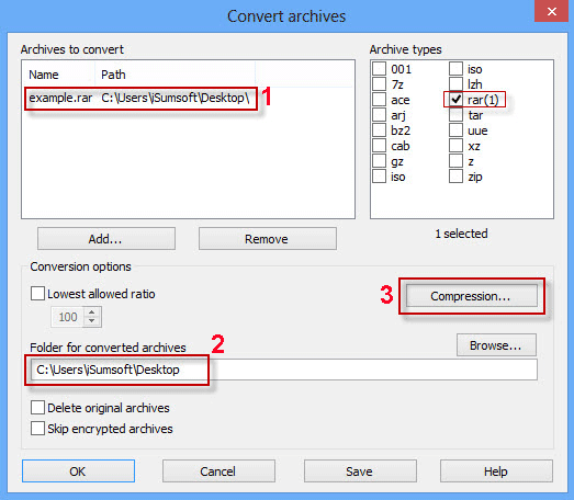 Convert RAR Files to ZIP Files on Windows by Using WinRAR