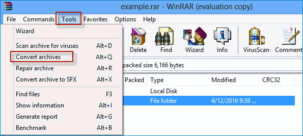 convert rar file windows 10