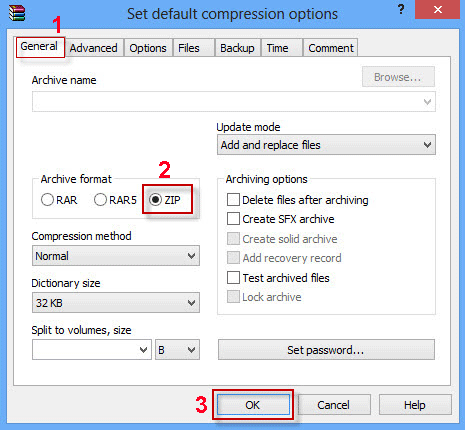 Select ZIP format and click OK