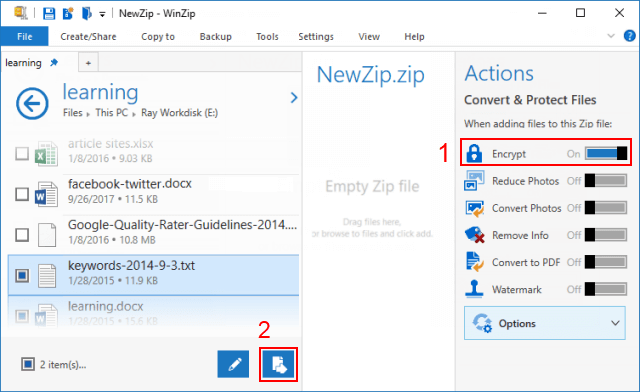 Create an encrypted zip file with Winzip