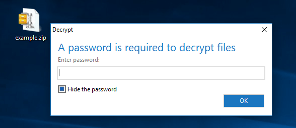 Decrypt zip file with found password