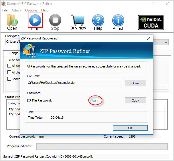 Start finding forgotten zip password