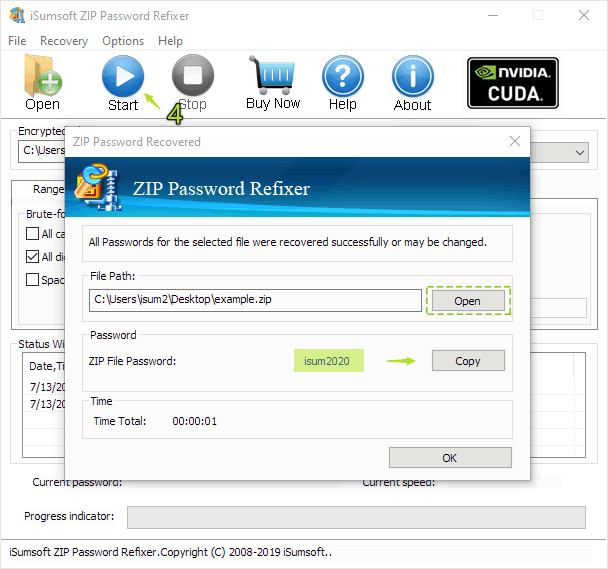 Zip file password recovered
