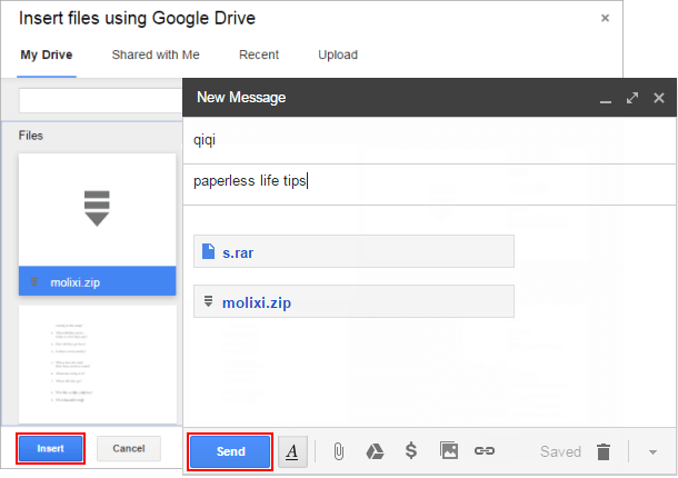 send zip file in gmail