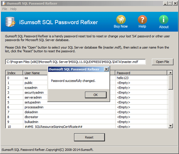 SQL Server 2012 SA password is recovered