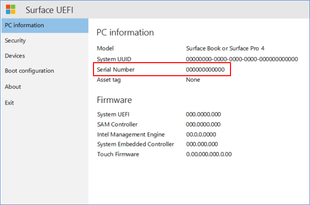 Find Serial number in UEFI