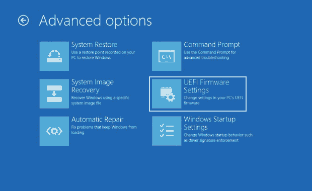 Surface UEFI settings
