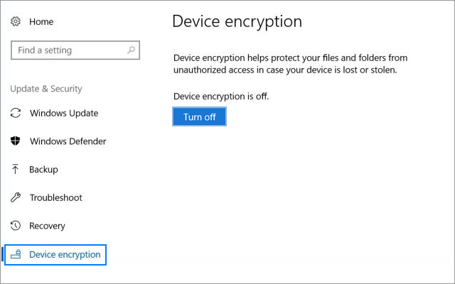 Turn off Device Encryption