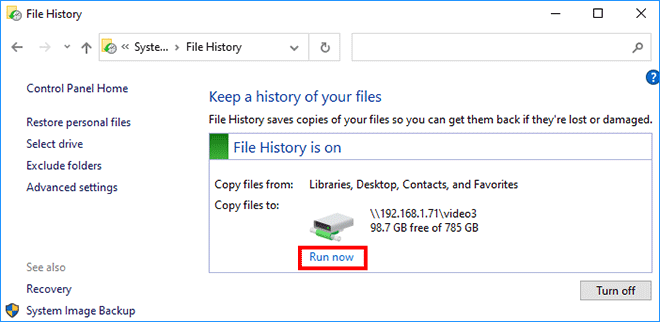 2 Ways to Create a File History Backup in Windows 10