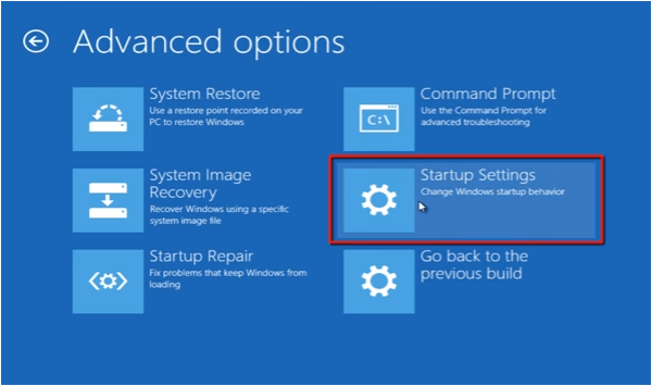 select Startup Settings