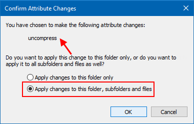 Apply changes to all folders and sub-folders