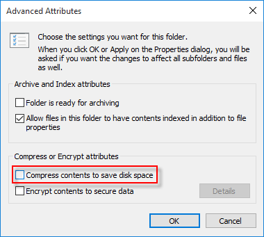 Uncompress contents on files or folders