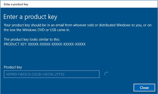 Enter A Product Key on Windows 10 Product Key 2yt43