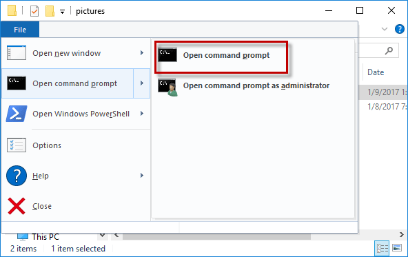 Select Open Command Prompt