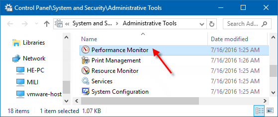 Open Performance Monitor in Administrative Tools