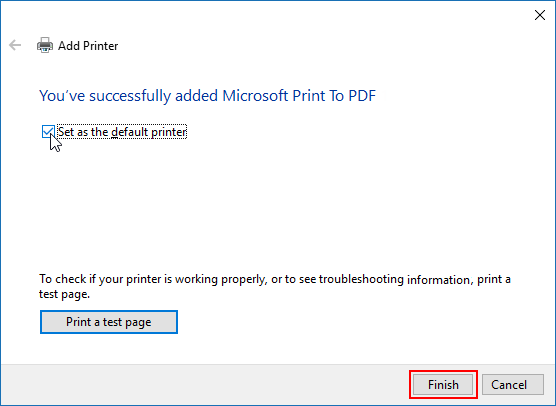 Finish activating MS printer in Windows 10