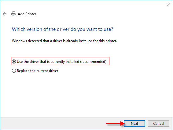 Use the current printer driver