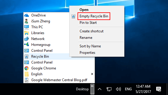 Empty Recycle Bin from Desktop toolbar