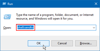 Open Sent to folder in File Explorer