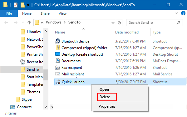 Remove Quick Launch from context menu