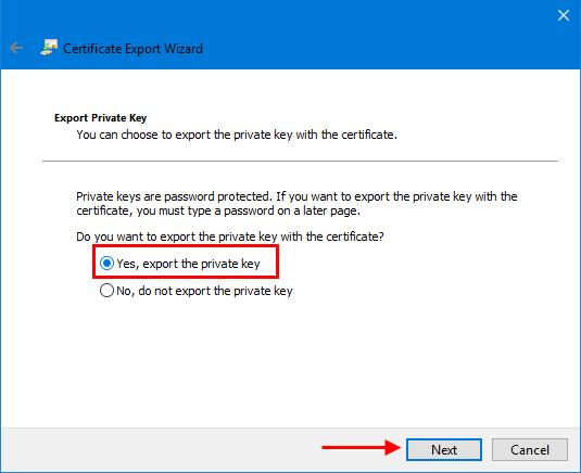 Export private key