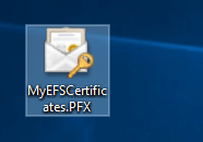 Current file encryption certificate and key