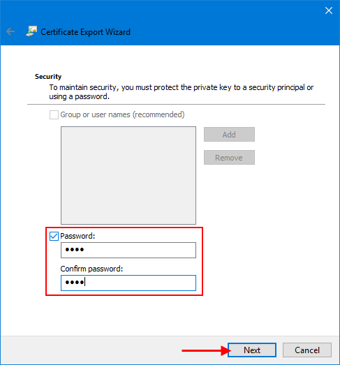 Set a password to protect file