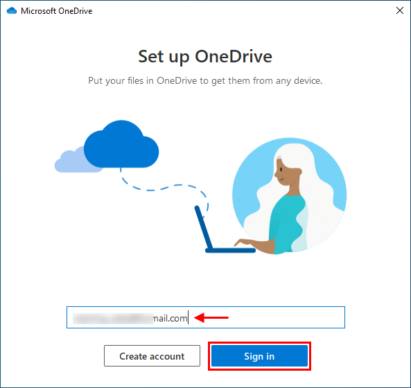 enter OneDrive account