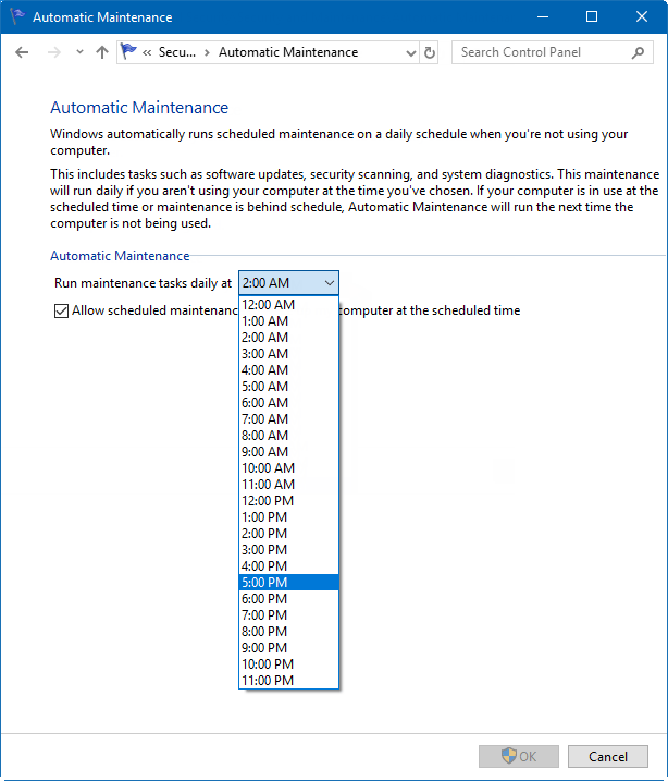 Select automatic Maintenance schedule