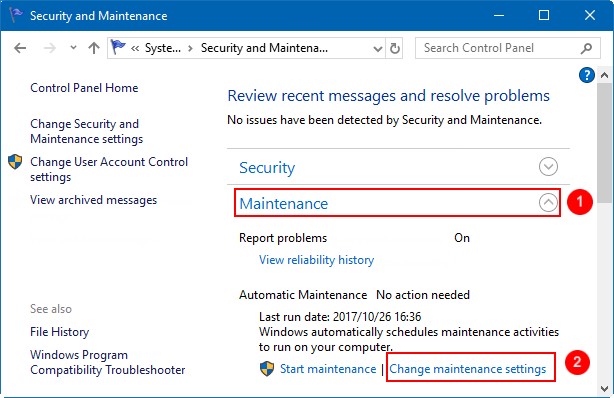 Change maintenance settings