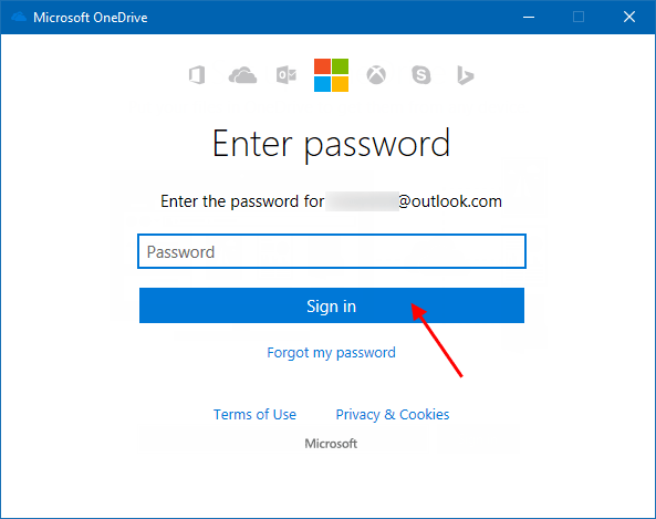 Enter-password for Microsoft Account
