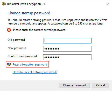 how do i reset my bitlocker password