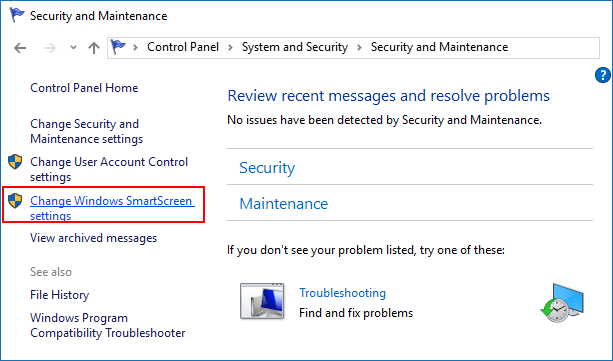 Windows SmartScreen settings