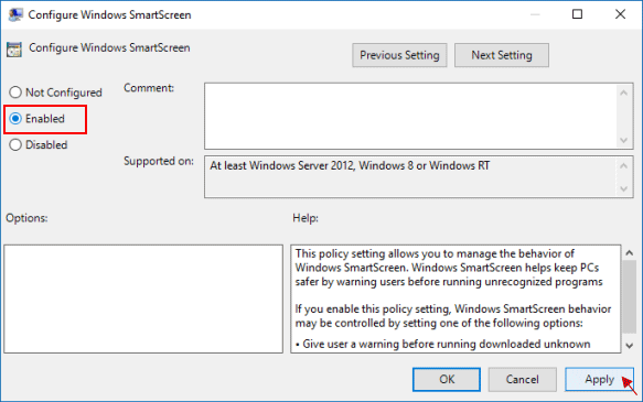 Enable Windows SmartScreen