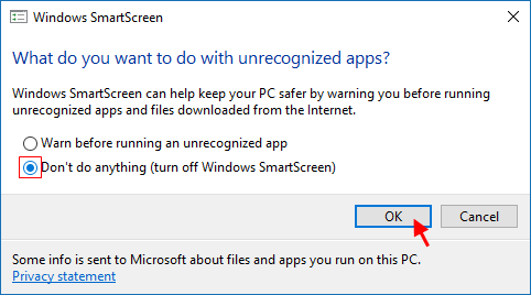 Turn off Windows SmartScreen
