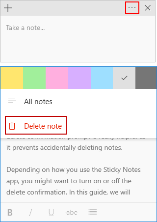 Delete Sticky Note