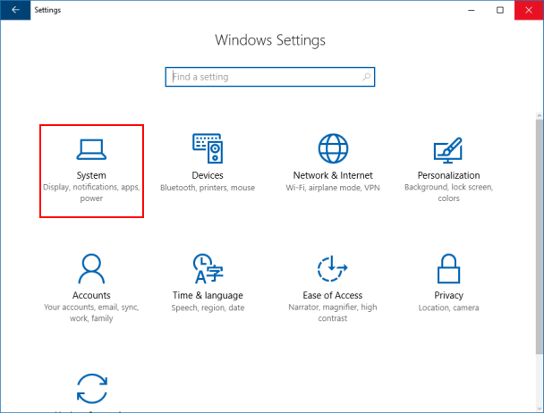 Open Windows 10 System