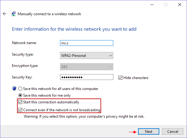 Enter information for the wireless network