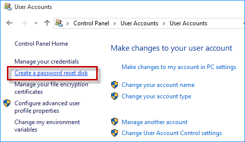 create a password reset disk link not working