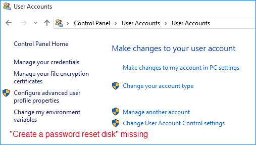 create a password reset disk missing