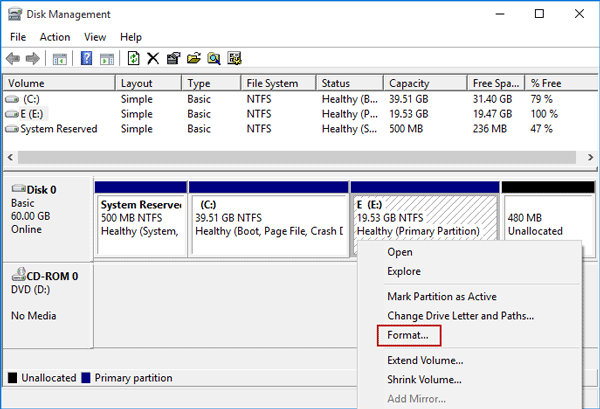 windwos 10 how to create a recovery partition