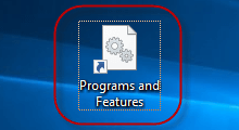 create shortcut for programs and features
