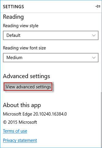 view advanced settings