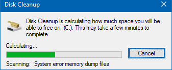 Disk Cleanup calculates space that can be freed