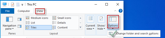 Choose the change folder and search options