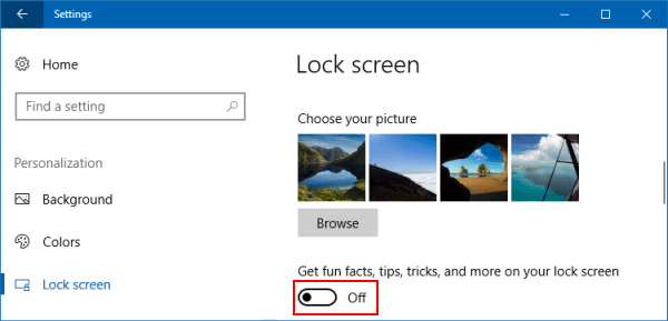 Disable Windows 10 lock screen Ads