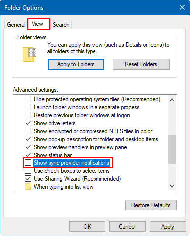 Hide notifiacation from File Explorer