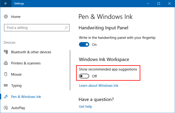 Remove Ads from the Windows Ink Workspace