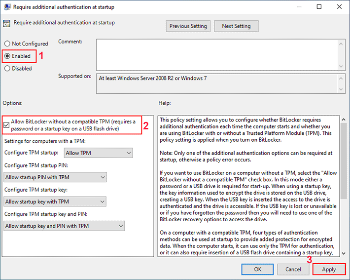 allow bitlocker without a tpm