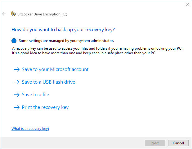 select location to store recovery key